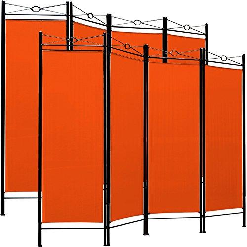 Deuba 2er Set Paravent Lucca 180x163 cm Raumteiler Verstellbar 4 TLG Trennwand Spanische Wand Sichtschutz - Orange