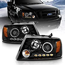 AmeriLite Black Projector Headlights Halo For Ford F-150 - Passenger and Driver Side