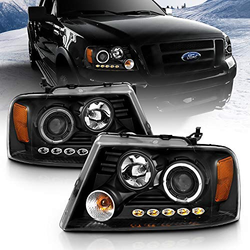 AmeriLite Black Projector Headlights Halo For Ford F-150 - Passenger and Driver...