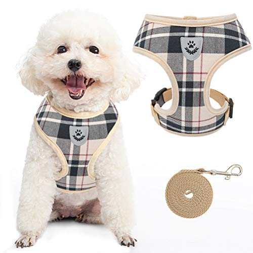 Small Plaid Dog Harness and Leash - Soft Puppy Padded Comfort Mesh Vest No Pull Checkered Pet Harnesses for Dogs Puppies Cats