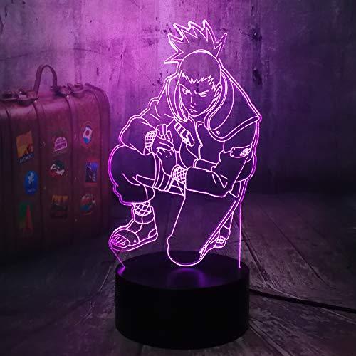 Anime Figur Nara Shikamaru Cool Naruto 3D LED Illusion Nachtlicht 7 Farbwechsel LED Kinderbett USB Touch Base Fernbedienung Tischlampe Baby Kinder Geburtstag Weihnachtsspielzeug