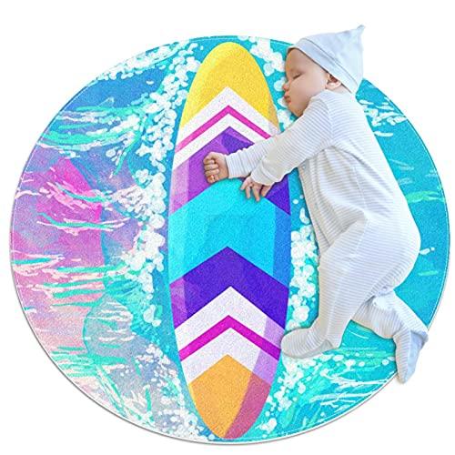 SDASDW Alfombra de los niños ronda alfombra de juegos de niños alfombra de niño niña suave alfombra área alfombra, acuarela de colores tabla de surf
