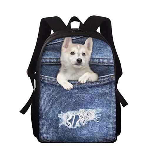 NETILGEN 15' Dog Printed Shoulder Backpack Satchel Book Bag Daily Schoolbag