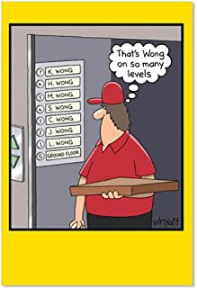 Many Wongs - Hilarious Happy Birthday Greeting Card with Envelope (4.63 x 6.75 Inch) - Pizza Delivery Guy, Cartoon Elevator Joke Card for Kids, Adults - Happy Bday Congratulations Stationery 8276