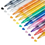 Acrylic Paint Pens for Rock Painting, Stone, Ceramic, Glass, Wood, Canvas, Christmas Ornament Crafts Kids Adults Greeting Cards Making Supplies Acrylic Paint Pens Fine Point 12 Colors Paint Markers