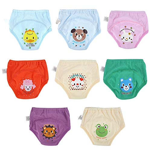 8 Stücke Baby Töpfchen Unterwäsche Trainingshose für Kleinkinder Kleinkinder Jungen Mädchen Cartoon Nette Wasserdichte Windeln 4 Schichten(90)