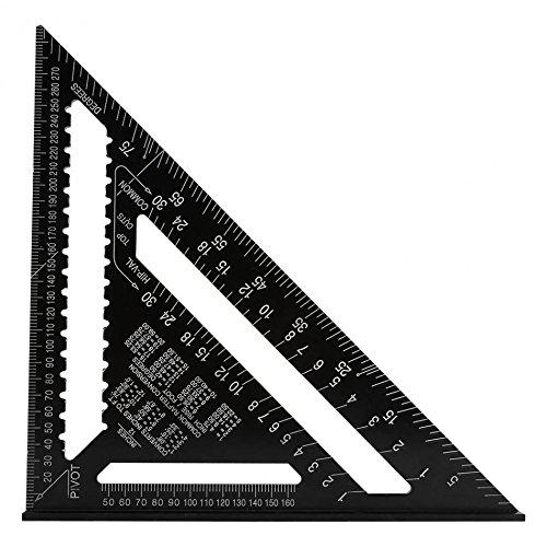 Jajadeal 12' Squadra di Alluminio Strumenti Triangolo Righello Goniometro per Falegname Carpentiere Nero (Sistema Metrico)