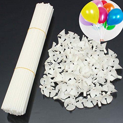 100 stuks 32cm witte ballon sticks houders met bekers voor feest festival bruiloft partij decor 32cm Kleur: wit