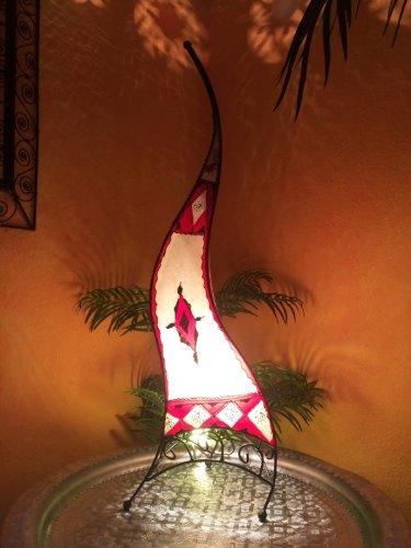Tarub Multifunctioneel Oosterse staande lamp, 100 cm, lederen lamp, hanglamp, Marokkaanse grote staande lampen, van metaal, lampenkap van leer, Oosterse decoratie uit Marokko, kleur rood naturel
