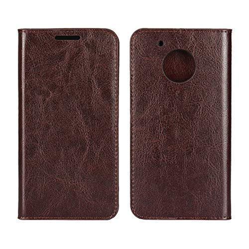 iCoverCase for Motorola Moto G5 Plus Case, Genuine Leather Wallet Case [Slim Fit] Folio Book Design with Stand and Card Slots Flip Case Cover for Motorola Moto G5 Plus 5.2 inch(Dark Brown)
