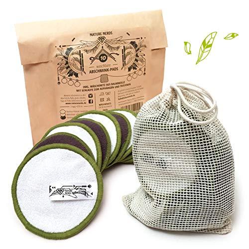 Nature Nerds – Kit de 10pièces de cotons de démaquillage nettoyable et réutilisables, Coton de démaquillage en bambou incluant un filet de lavage