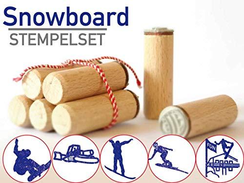 13gramm Snowboard Stempelset Geschenk, 5-teilig aus Buchen-Holz