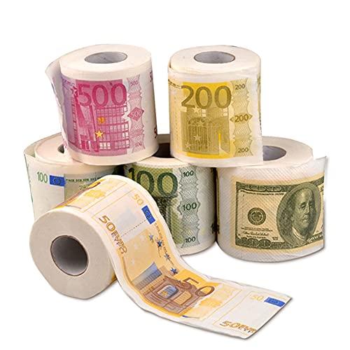 6 unids EUR EUR Bill Impreso Impreso Papel higiénico Europa EUR Tejido Novedad Diversión Fiesta de cumpleaños Novedad Regalos Creative Pranks