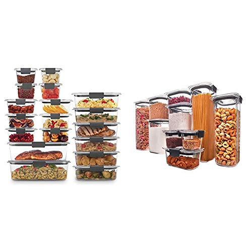 Rubbermaid Brilliance Storage 44-Piece Plastic Lids | BPA Free, Leak Proof Food Container & Food Storage Containers with Airtight Lids, Set of 10 (20 Pieces Total)