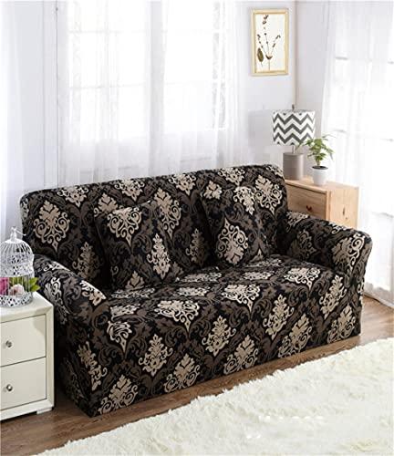 TXSA Fodera per divano 1/2/3/4 posti fodera per divano elasticizzato morbido elasticizzato Marrone classico Allungabile Universale Fodera per Divano,4 persona 235-300CM