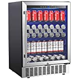 Aobosi 24 Inch Beverage Cooler, 164 Cans Freestanding and Built-in Beverage Refrigerator with Advanced Cooling System, Adjustable Shelf, Energy Saving, Ideal for Soda, Water, Beer, Wine