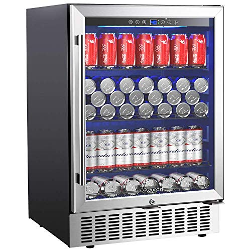 AAOBOSI 24 Inch Beverage Cooler, 164 Cans Freestanding and Built-in Beverage Refrigerator with Advanced Cooling System, Adjustable Shelf, Energy Saving, Ideal for Soda, Water, Beer, Wine