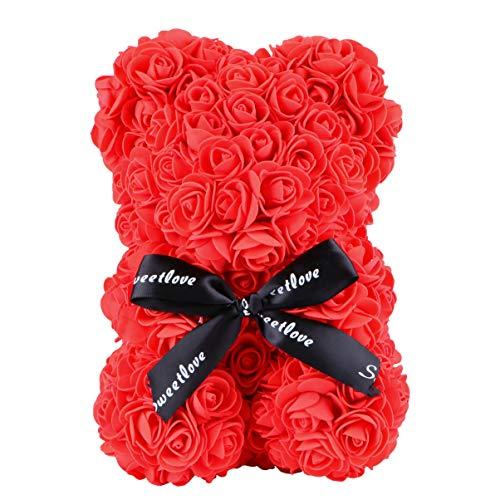 IMIKEYA Rosa Flor Oso Rosa Oso de Peluche Flores en Cada Rosa Oso Arti