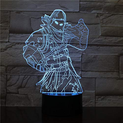 Cartoon Movie Assassin Robot Game Figure 3D LED Night Light Halloween Acrylic Illusion Table Desk Lamp Kids Gift