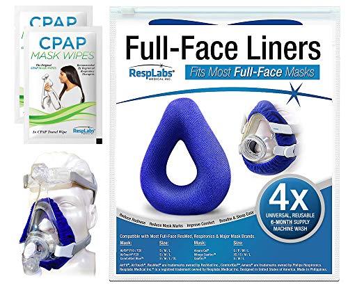 RespLabs Liners für CPAP-Vollgesichtsmaske- [4 Packung] Wiederverwendbar, Universell und Super Bequem