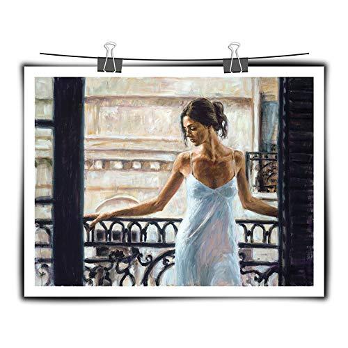 Serthny kunstdruk op canvas, dames, in witte jurk, voor balkon, modern, kunstdruk, op canvas, bedrukt, Wall Art decoratie, foto, slaapkamer, woonkamer, kantoor, huis, decoratie 50×70cm (19.68×27.55inch)no frame