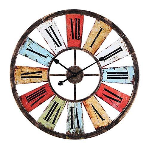 Iron Art wandklok, Modern Minimast Euran Retro Antieke rustieke landelijke Opknoping Klok, 3D kleurrijke decoratie Ornamenten alarm clock