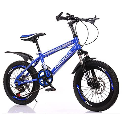 Axdwfd Infantiles Bicicletas 18 Pulgadas 20 Pulgadas niños y niñas Ciclismo, Adecuado para niños de 7 a 14 años de Edad, Rosa, Azul, Rojo (Color : Blue)