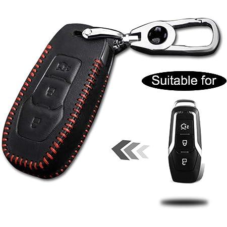 Schlüssel Hülle Leder Auto Schlüsseltasche Mit Schlüsselanhänger Für 3 Tasten Keyless Go Fernbedienung Autoschlüssel Rotes Nähen 1 Stück Modell E Auto