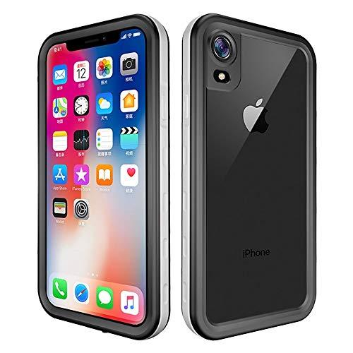 Haiqing Funda resistente a prueba de golpes, resistente al agua, con protector de pantalla integrado, compatible con iPhone XR (6,1 pulgadas). Color: blanco