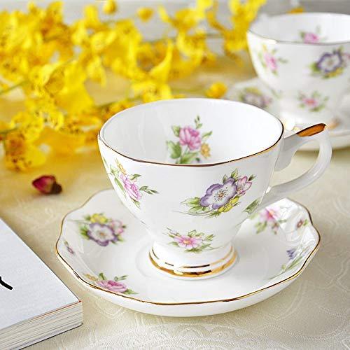 Juego de taza de café de porcelana de hueso europeo, creativo, simple, plato de porcelana de cerámica, taza de leche de 200 ml (color: C)
