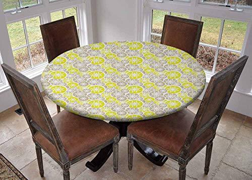 Ronde tafelkleed keukendecoratie, tafelblad met elastische randen, Ovaal Gebogen Verticale Lijnen met Klassieke Effecten Dots Retro Graphic Sea Green Benzine Blauw, feesttafelkleed