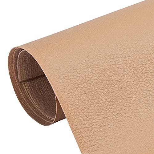 Hwtcjx Parche De Cuero, 5 piezas Parche De Reparación De Cuero, Cuero artificial duradero, resistente a la fricción, autoadhesivo, fácil de usar, para asientos de automóvil, sofás (20 x 30cm, Caqui)