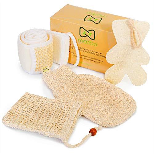 Moobo® Dusch- und Badeset, 1 Sisal-Rückenwaschbürstengurt +1 Tasche für feste Seife +1 Peeling-Toilettenhandschuh Bambus-Körperpeeling +1...