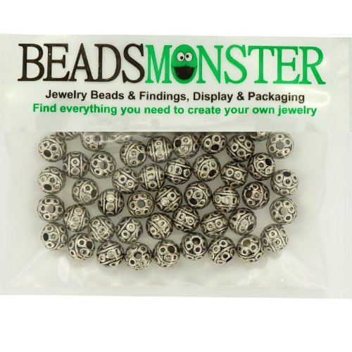 Ball Tibetan Style Beads for Jewelry Bracelet Necklace Charm Making, Round, 8mm Round Antique Silver, Pack of 50