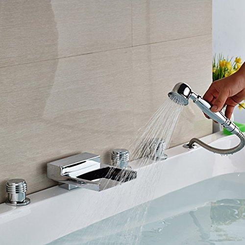 Luxurious shower Tablier d'une baignoire douche robinet cartouche céramique Set 3 5 poignée de main avec les trous de remplissage de cuve de douche chrome brillant, Marron