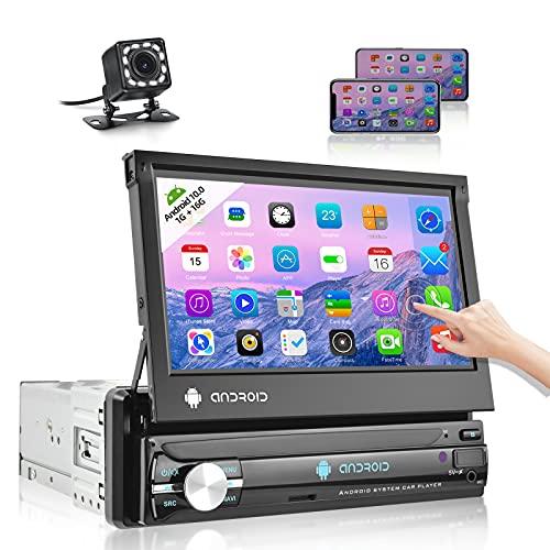 NHOPEEW Autoradio 1 din Android con touchscreen, Stereo Auto Bluetooth con GPS FM WiFi subwoofer + fotocamera posteriore