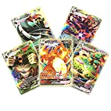Juego de 60 tarjetas flash VMAX, tarjetas GX, coleccionables de Pokemon, juegos de cartas interactivas, regalos de Navidad y regalos de cumpleaños para niños (18 VMAX-tarjeta + 42 V tarjeta)