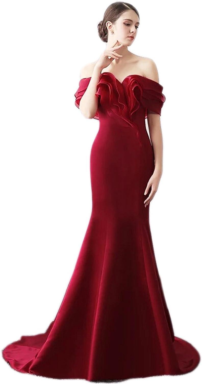 Ikerenwedding Women's Offshoulder Organza Layered Bust Mermaid Evening Dress
