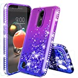 Donse for LG Aristo 2 Case,LG Aristo 3/Rebel 4 LTE/LG K8S/Aristo 2 Plus/Tribute Empire/Zone 4/Phoenix 4/Fortune 2/Risio 3/K8/K8+Case W/Tempered Glass Screen Protector Liquid Girls Women,Purple/Blue