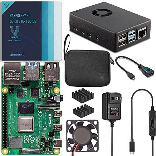 Vilros Raspberry Pi 4 4GB Basic Starter Kit with Fan-Cooled Heavy-Duty Aluminum Alloy Case