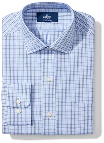 BUTTONED DOWN Men's Classic Fit Spread Collar Pattern Non-Iron Dress Shirt, Mini Blue Glen Plaid, 17