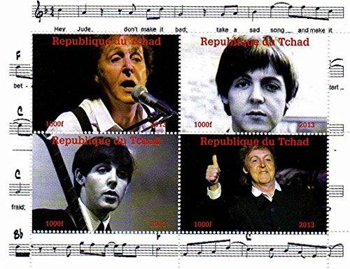 Stampbank I francobolli Beatles - Paul McCartney - 4 Foto del leggendario Beatle - Menta e minifoglio smontato con 4 francobolli