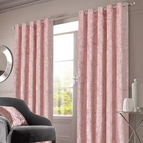 "Sienna Crushed Velvet Eyelet Ring Top Pair of Fully Lined Curtains - Blush Pink, 66"" x 54"""