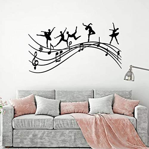 WERWN Ballet Silueta Pared calcomanía Estudio Bailarina Notas Musicales Saltando melodía Bailarina Vinilo Pegatina salón de Baile decoración de Interiores