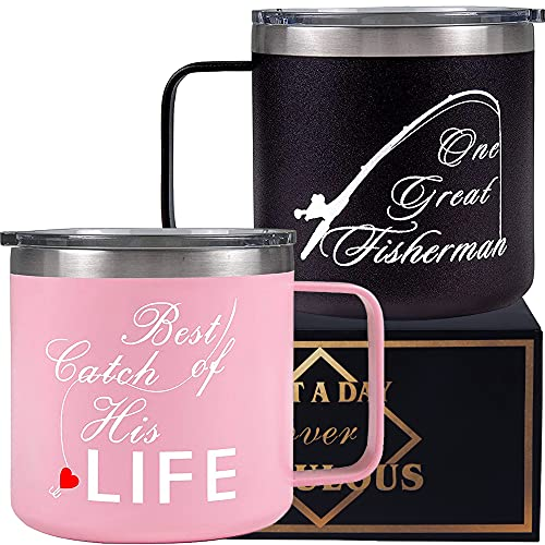 One Great Fisherman, Fisherman Gifts, Best Catch of His Life, One Great Fisherman Tumbler Set, Gift for Couple, One Great Fisherman Mug, Wedding Gifts for Couple