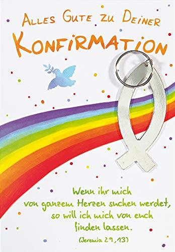 Karte zur Konfirmation Lifestyle - Regenbogen, Schlüsselanhänger - 11,6 x 16,6 cm