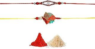 Aditri Creation Rakhi with Dori Set (Green with Red)