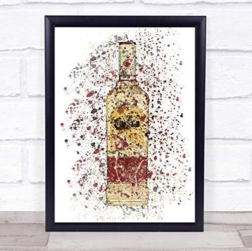 Speciale gouden Tequila fles muur kunst ingelijst Print Framed Brushed Gold Small