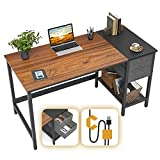 Cubiker Computer Home Office Desk, Small Desk with Drawers 47 inch Study Writing Table, Modern Simple PC Desk, Espresso and Black