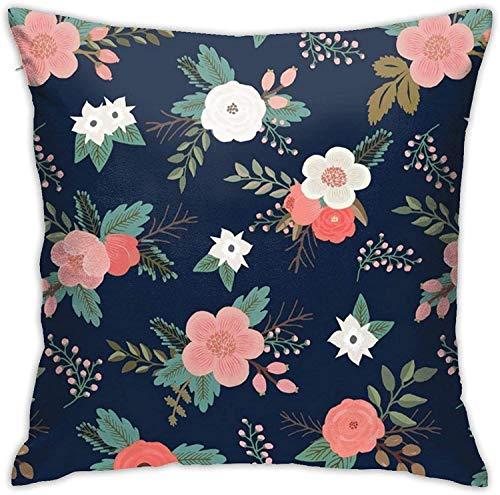 BONRI ral Sweet Bouquets en Azul Marino y Coral Fundas para Cojines Funda de Almohada Decorativa con Cremallera Oculta Cuadrada de poliéster , (16'x16 / 40x40cm